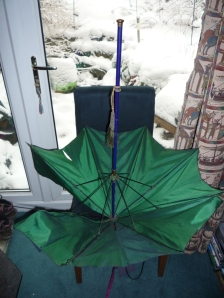 My first parasol is emerald green inside!