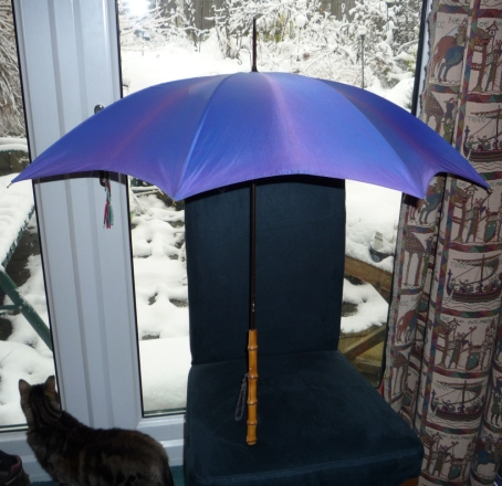 Purple vintage umbrella.
