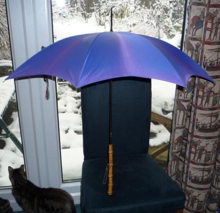 Purple vintage umbrella.