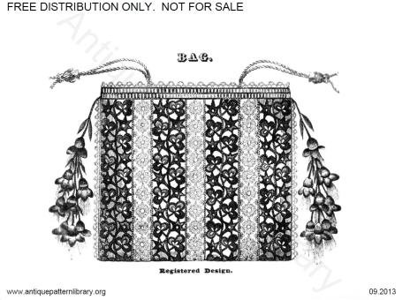 Victorian crochet bag with fuchsias as tassels.